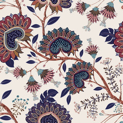 Fotobehang Botanisch Jacobean seamless pattern. Flowers background, provence style. Stylized climbing flowers. Decorative ornament backdrop for fabric, textile, wrapping paper, card, invitation, wallpaper, web