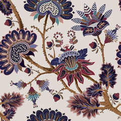 Jacobean seamless pattern. Flowers background, provence style. Stylized climbing flowers. Decorative ornament backdrop for fabric, textile, wrapping paper, card, invitation, wallpaper, web