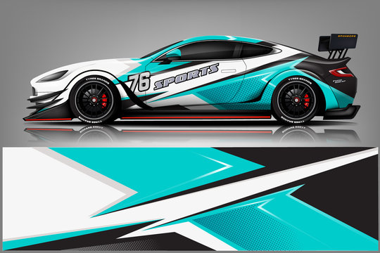 sport Car decal wrap design vector.Graphic abstract stripe racing background kit designs for vehicle, race car, rally, adventure and livery - Vector