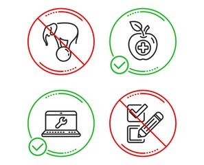 Do or Stop. Medical food, Laptop repair and Elephant on ball icons simple set. Checkbox sign. Apple, Computer service, Circus show. Survey choice. Business set. Line medical food do icon. Vector