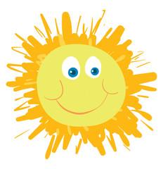 A happy sun, vector color illustration.