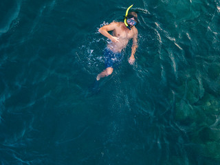 Man snorkeling in ocean