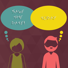 Writing note showing Save The Date. Business concept for Organizing events well make day special by event organizers Bearded Man and Woman with the Blank Colorful Thought Bubble