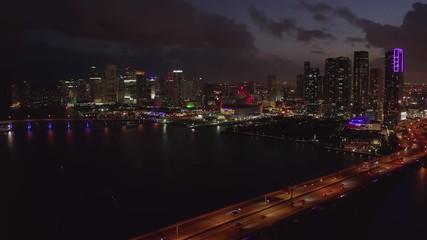 Fototapete - Miami night skyline downtown sunset evening aerial