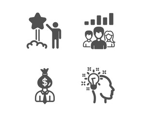 Set of Star, Teamwork results and Manager icons. Idea sign. Launch rating, Group work, Work profit. Creative designer.  Classic design star icon. Flat design. Vector
