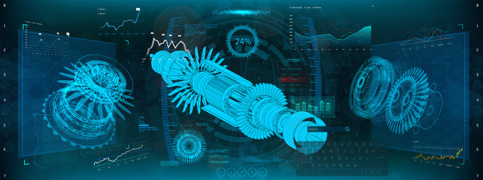 Jet engine of airplane in HUD UI style. Industrial aerospase blueprint. Vector illustration of future engineering with infographics and Jet engine statistics with parts of mechanisms. HUD UI style