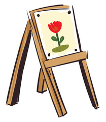 LFloral canvas on a wooden easel vector illustration on white background