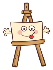 Easel with a happy canvas vector illustration on white background