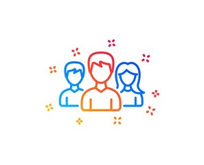 Group line icon. Users or Teamwork sign. Male and Female Person silhouette symbol. Gradient design elements. Linear teamwork icon. Random shapes. Vector