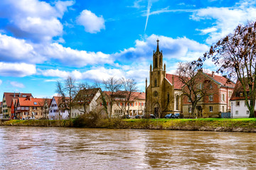 View of the evangelical church at the riverside in Rottenburg am Neckar