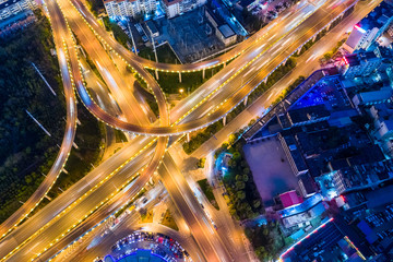 Fotomurales - aerial view of city interchange at night