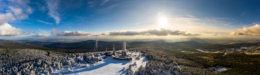 Germany, Hesse, Schmitten, Aerial view of Grosser Feldberg, aerial mast of hr and viewing tower in winter