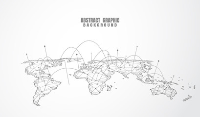 Global network connection. World map point and line composition concept of global business. Vector Illustration Wall mural