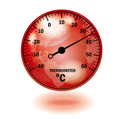 Illustration of translucent globe and thermometer (red) | Global warming image | Vector data