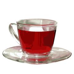 ガラスのティーカップに入った紅茶