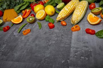 Fototapete - Vegetables on stone table