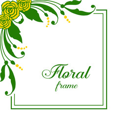 Wall Murals Retro sign Vector illustration abstract yellow floral frame with vintage card