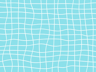 Abstract background of light white and blue wavy lines with curved grid. Design element for web banners, posters, cards, wallpapers and backdrop.Like water surface in the swimming pool.