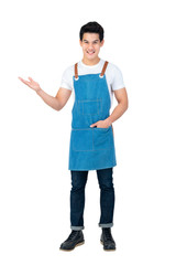 Handsome Asian man wearing apron with open hand