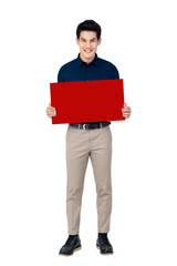 Young smiling handsome Asian man holding blank red board