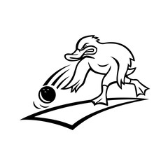 Cartoon mascot style illustration of an angry bowler duck or mallard rolling a bowling ball down a wood or synthetic lane viewed from side on isolated background done in black and white.