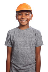 Smiling happy African American boy in orange cap