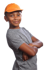 African American school boy folded arms smiling