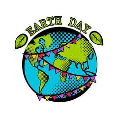 Sketch of planet Earth with pennants. Earth day. Vector illustration design