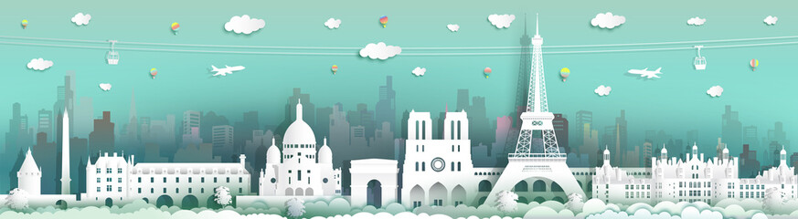 Wall Mural - Traveling France with cabel car, balloon and airplane.