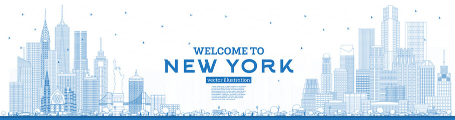 Fototapete - Outline Welcome to New York USA Skyline with Blue Buildings.
