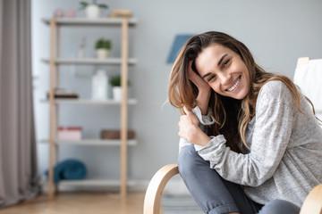 Beautiful smiling woman indoors.