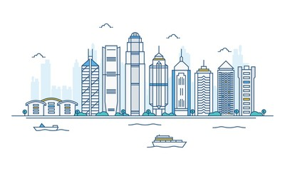 Vector cartoon illustration of  Honk kong skyline. Isolated on white background. Wall mural