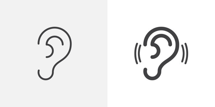 Ear, hearing icon. line and glyph version, outline and filled vector sign. Human ear organ linear and full pictogram. Symbol, logo illustration. Different style icons set