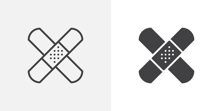 Band aid icon. Adhesive plaster line and glyph version, outline and filled vector sign. Bandage plaster linear and full pictogram. Patch symbol, logo illustration. Different style icons set