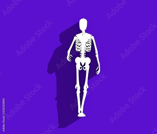 Human skeleton posing  Halloween party design template  3D