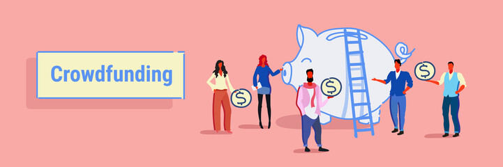 businesspeople group investment money investor crowdfunding concept business people investing dollar coins piggy bank crowd funding sketch horizontal banner