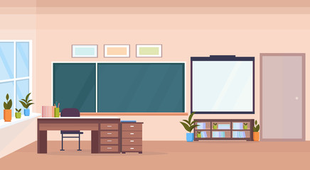 modern school classroom interior chalk board teacher desk empty no people horizontal banner flat