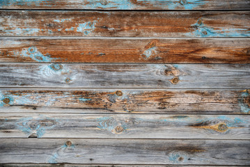 Wooden texture with old peeling paint blue Wall mural