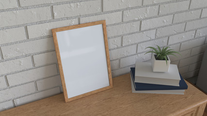 Mockup of poster or photo frame in the interior