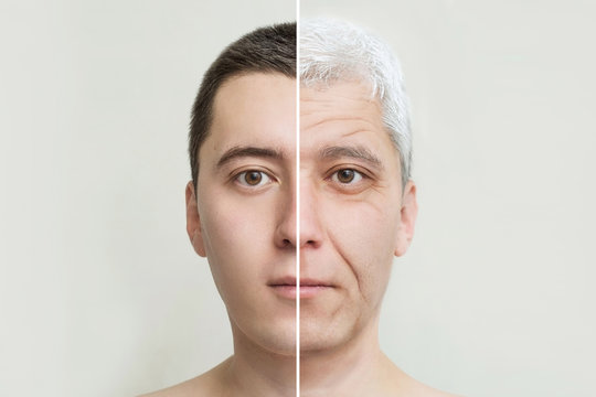 young and old man's face, the concept of old age and aging skin, wrinkles on the face of men