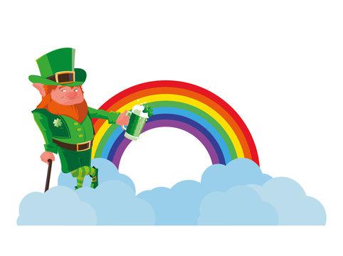 lemprechaun with beer and rainbow