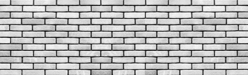 Panorama of White brick wall  texture and background