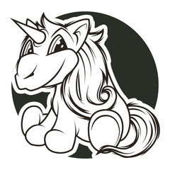 funny unicorn black and white vector illustration