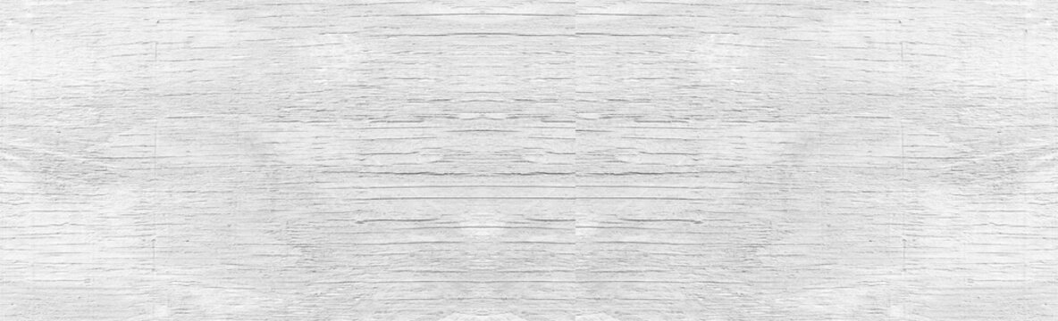 Panorama of White wood wall texture and background