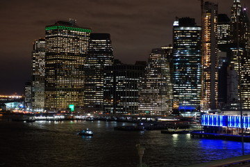 Lower Manhattan at night from the Brooklyn