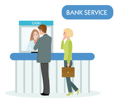 female bank teller serve business man on white background. Vector illustration in a flat cartoon style