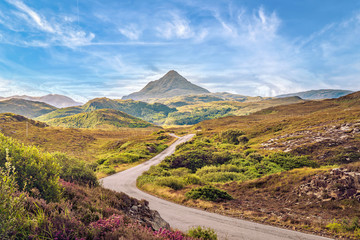 View of Ben Stack mountain peak from West, Scottish Highlands. Wall mural