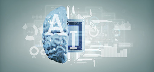 Artificial intelligence icon with half brain and half circuit 3d rendering