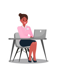 Office Manager Using Laptop Vector illustration
