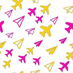 Foto op Plexiglas Geometrische dieren Seamless vector EPS 10 pattern with Plane Aircraft. Travel concept